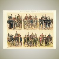 Rangers, Riflemen, Pioneers and Train: Antique Chromo Lithograph. 1902