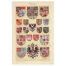 4 Chromo Lithographs. Coat of Arms. 1900