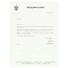 Stirling Moss Letter and Trading Card. CoA