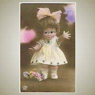 Doll with Plastic Eyes. Vintage Postcard 1928