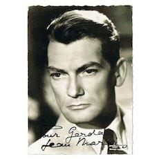 Jean Marais Autograph on old Austrian Photo Postcard