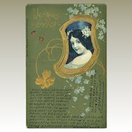 Art Nouveau Postcard Girl and Forget-me-not. 1902