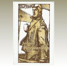 War Bonds Advertising Postcard with Pilot. W.W.I.