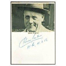 Paavo Nurmi Autograph. Gold Medal Runner. CoA