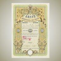 Czech Sugar Refinery Kourimi Stock Certificate from 1871