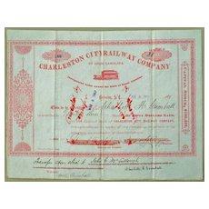 Charleston City Railway Company Stock Certificate 1892