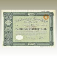 German I.G. Farben Stock Certificate in RM. History Importance