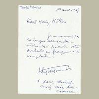 Thyde Monnier Autograph from 1965 Hand Written Letter