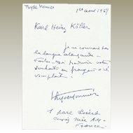 Thyde Monnier Autograph from 1965