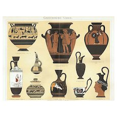 Antique Greek Vases. Chromo Lithograph from 1898