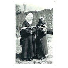 Muslim Ladies on vintage Postcard from Bosnia