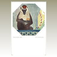 Art Deco Postcard with Baboon. Austrian