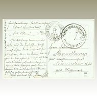 Austrian Ship Post Cancellations on old World War 1 Postcard. 1915