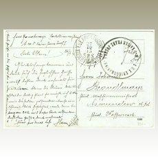 Austrian Ship Post Cancellations on old World War 1 Postcard. 1915