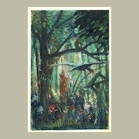 Art Deco Gouache Jungle Scene 1917