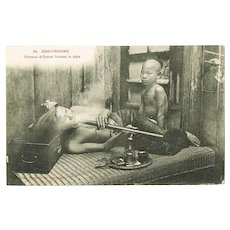 Opium Smoker in Cochinchine, vintage Postcard.