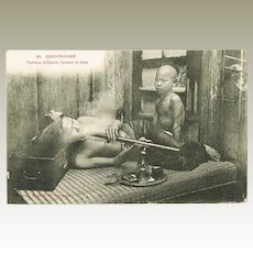 Opium Smoker in Cochinchine, vintage Postcard.