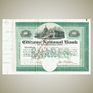 Citizens National Bank of Washington City Stock Certificate 1903