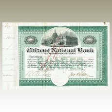 Citizens National Bank of Washington City Stock Certificate 1903