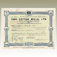 Old Chinese Stock Certificate EWO Cotton Mills, Ltd. Opium War History.