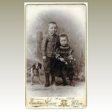 Cabinet Photo from 1900 Kids with Dog