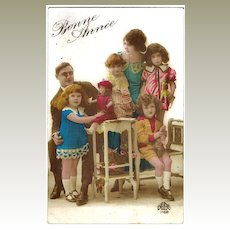 Vintage Xmas Postcard, Family with Children and Dolls