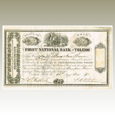 First National Bank of Toledo Stock Certificate 1871