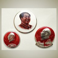 Cultural Revolution in China: 3 Mao Buttons