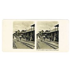 Railway Station in Black Village Culebra. Stereo View  from ca. 1900