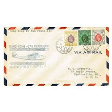 Hong Kong to San Francisco. First Flight Cover.