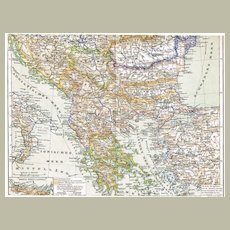 Antique Map of the Balkan Region from 1898