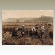 Japan: Tinted Albumen Photo. Farmers at Harvest