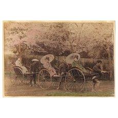 Japanese Girls in Rickshaws. Albumen Photo. 1880s
