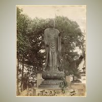 Japan: Tinted Albumen Photo. Buddha Statue