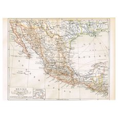 Old Mexico: Antique Map from 1900