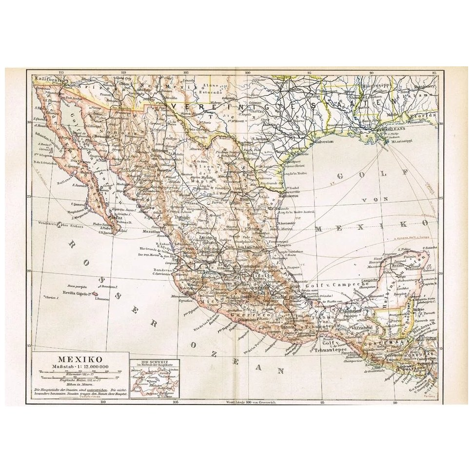 Map 1900.Old Mexico Antique Map From 1900