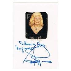 Ginger Rogers: Authentic Autograph CoA.