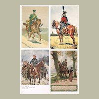 4 vintage Postcards with Cavalrymen