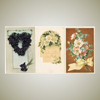 3 Art Nouveau Postcards with Flower Motifs. 1915