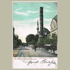 Constantinople: Vintage Postcard from 1905, overprinted Stamp