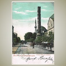 Constantinople: Vintage Postcard from 1905, overprinted Stamp