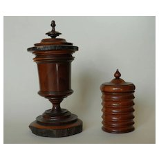 2 Antique Jewish Chestnut Urns.