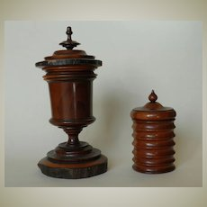 2 Antique Jewish Chestnut Urns.
