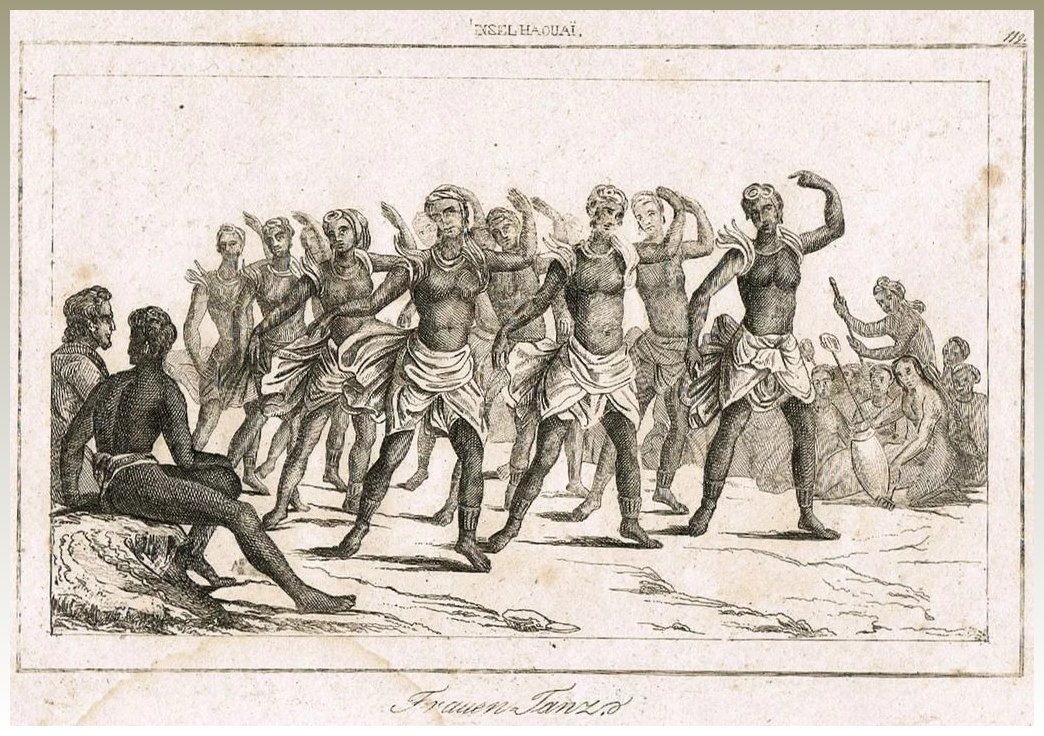Hawaii Antique Etching With Dancers 18 Ct  Collect At Curioshop  Ruby Lane-6361