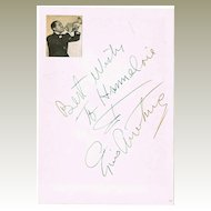 Louis Armstrong Autograph, CoA