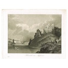 Missouri Rock Walls. Antique Etching from 1852