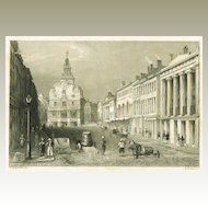 State Street in Boston: Antique Steel Engraving, app. 1840