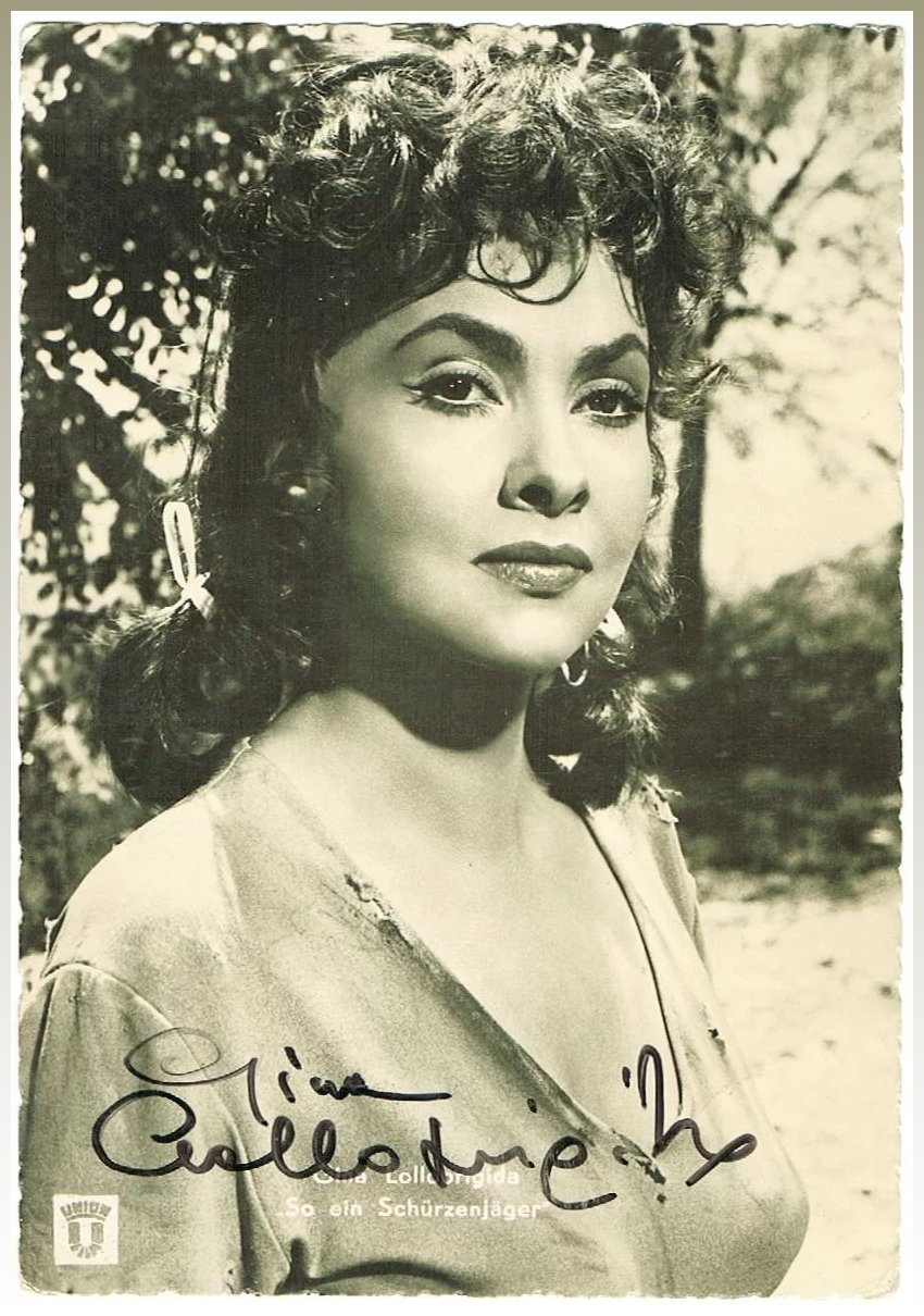 gina lollobrigida autograph early hand signed photo