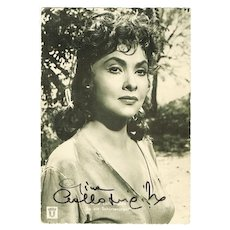 Gina Lollobrigida Autograph. Early,  hand signed, Photo. CoA