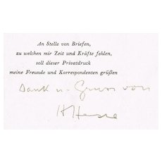 Hermann Hesse Autograph. Signature in a scarce Publikation 1949